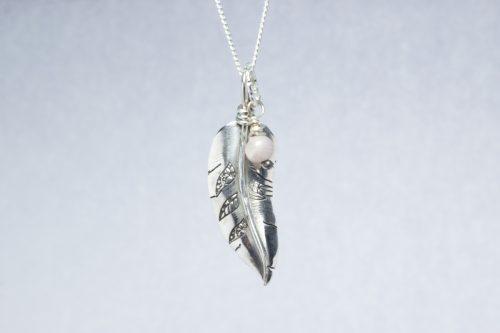 Orenda's bespoke jewellery - Feather and Kunzite