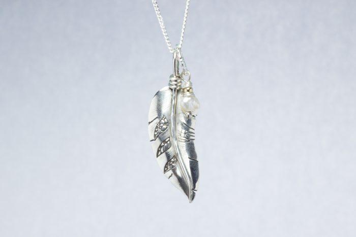 Orenda's bespoke jewellery - Feather and Cultured pearl