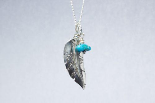 Orenda's bespoke jewellery - Feather and 'Sleeping Beauty' Turquoise